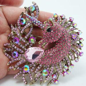 New-Pretty-Horse-Animal-Unicorn-Drop-Brooch-Pin-Pendant-Pink-Rhinestone-Crystal