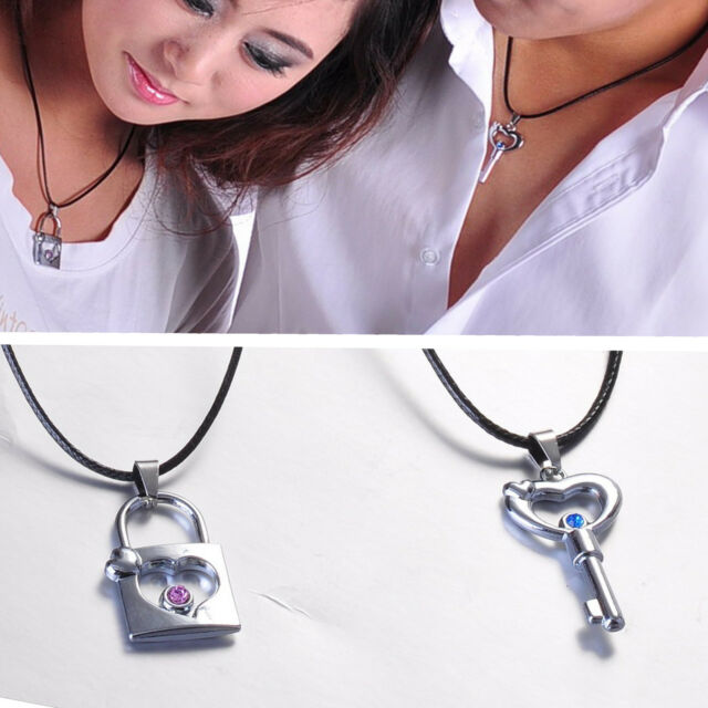New Romantic Couple Stainless Steel Necklace Lock and Key Crystal Hollow Pendant