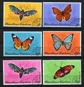 Butterflies-amp-Moths-set-of-6-CTO-stamps-1970-Togo-756-9-C139-40
