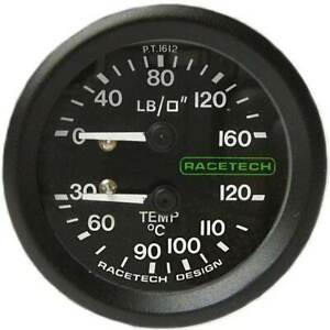 Racetech-Oil-Pressure-Temp-Gauge-Non-Backlit-1-8-034-BSP-Nipple-Fitting-amp-7ft-Pipe