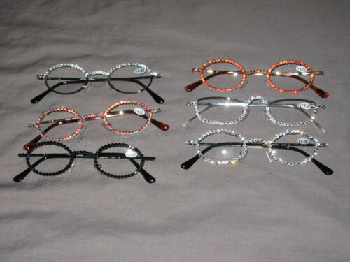 Swarovski Crystal Jeweled Reading Glasses +4.00 Bling Wire Frames NEW!