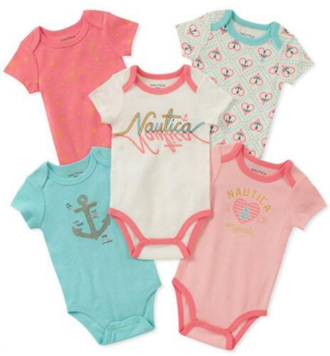 Nautica Infant Girls 5 Pack Turquoise /& Pink Bodysuits Size 0//3M 3//6M 6//9M $42