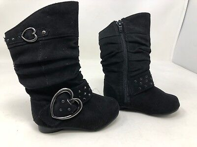 Girl/'s Toddler Canyon River Blues Heart Buckle Boots Black 14056 Arlene 67W New