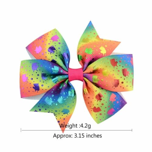 """Spiral- 3/"""" with clip Bows Various Designs Multi Coloured Hair Bows Unicorns"""
