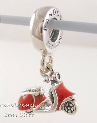 Authentic PANDORA Red SCOOTER Italy SUMMER Dangle Charm 791140EN42 NEW w  POUCH! | eBay