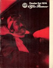 ALFA ROMEO Dealer elenco 1974-75 UK opuscolo di mercato