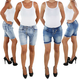 Damen-Hotpants-Hot-Pants-Jeans-Shorts-Kurze-Hose-Capri-Hueft-Stretch-Bermuda-Somm