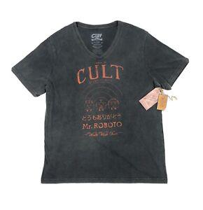 Cult-Of-Individuality-Mr-Roboto-Black-Short-Sleeve-Mens-2XL-XXL-V-Neck-T-Shirt