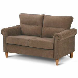Modern-Linen-Fabric-Sofa-Love-Seat-Couch-Upholstered-2-Seater-Nailhead-Brown-New