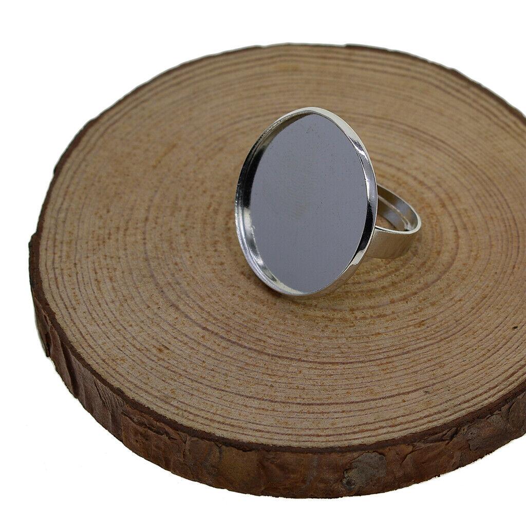 10x Einstellbare Ringrohlinge mit 25mm Klebepad zum Schmuck basteln
