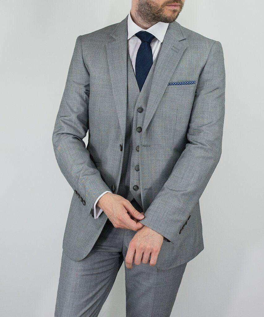 Mens Cavani Reegan Plain grau 3 Piece Suit Formal Weddings Prom Fashion