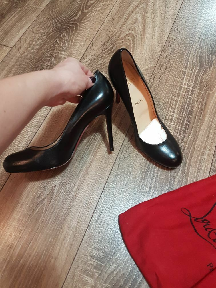 CHRISTIAN CHRISTIAN CHRISTIAN LOUBOUTIN New  Leather  Simple Pump shoes 100 mm Black Size 36 ee6286