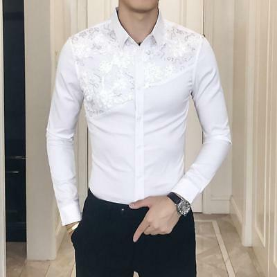 Men Gothic Steampunk Shirt Slim Fit Casual Sequins Formal Party Dress Tee Blouse