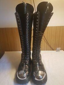 Demonia Pole climber 20 eye boots. Size 9. Goth  Punk Cos play