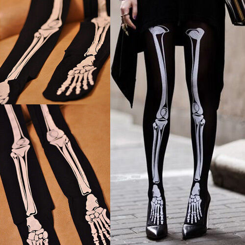 3853a2e1b Womens Tattoo Socks Tights Ladies Skull Skeleton Pantyhose Stockings WFEU  for sale online