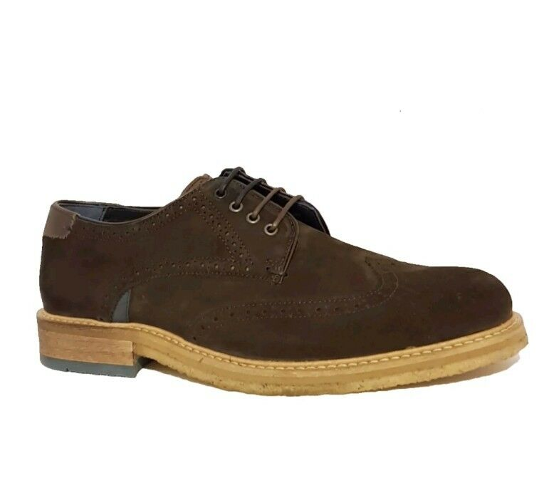 TED BAKER LONDON PRYCCE BROWN SUEDE LEATHER DERBY BROGUES WINGTIP SHOES MENS