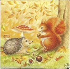 3 Servietten Napkins Herbst Igel Eichhörnchen Fliegenpilz Wald #16