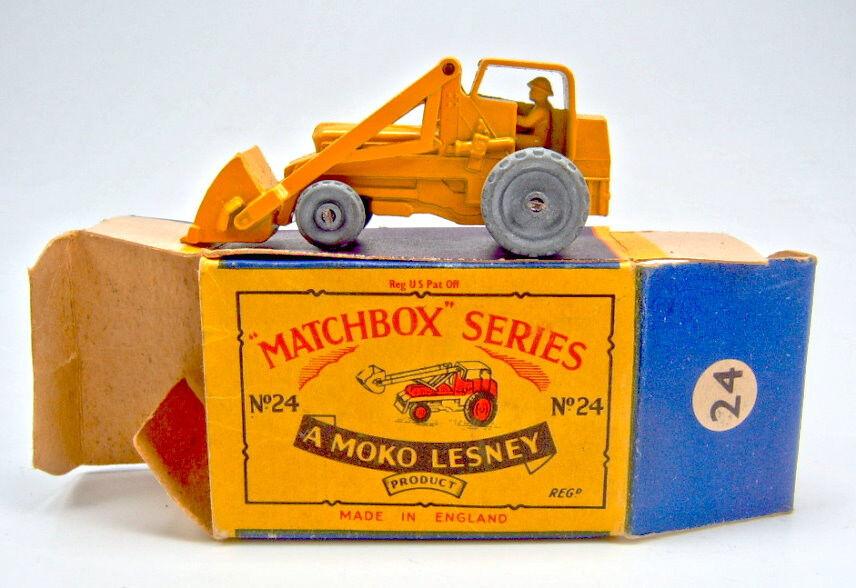 Matchbox N ° 24a Hidráulico Excavadora Cuerpo arancia Raro corto  B3  Caja