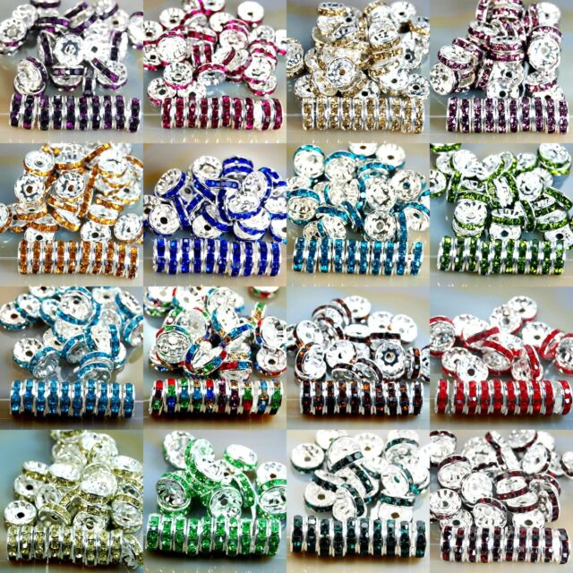 100pcs Quality Czech Crystal Rhinestone Silver Rondelle Spacer Beads 8MM
