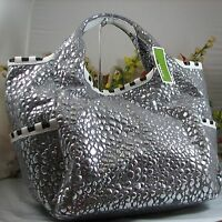 Gorgeous Oryany Gray Canvas With Silver Droplets X-large Tote With Leather Trim