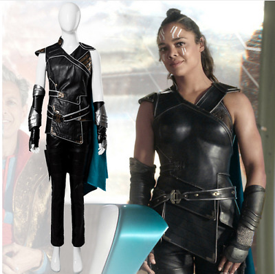 The Avengers Thor 3 Ragnarok Valkyrie Cosplay Costume Dress Gown Suit Cape Vest