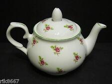 Dot rose English Fine Bone China 2 Cup Tea Pot By Milton China (Green Rim)