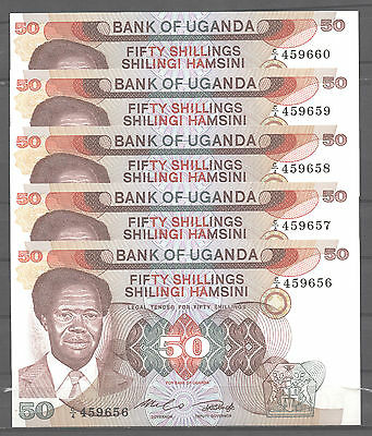 UGANDA  LOTE LOT 5 BILLETES x  50 SHILLINGS (1985) Pick # 20   SC  UNC