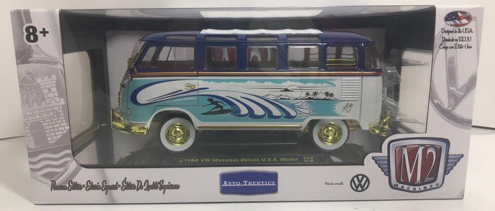 M2 Auto-thentics 1960 1960 1960 VW microbús Deluxe Usa Modelo Chase 500 Piezas Escala 1 24 6a6ea4