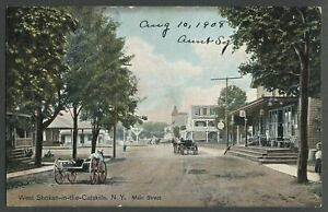 West-Shokan-Olive-NY-c-1908-Postcard-MAIN-STREET-Railroad-Station-Store-Hotels