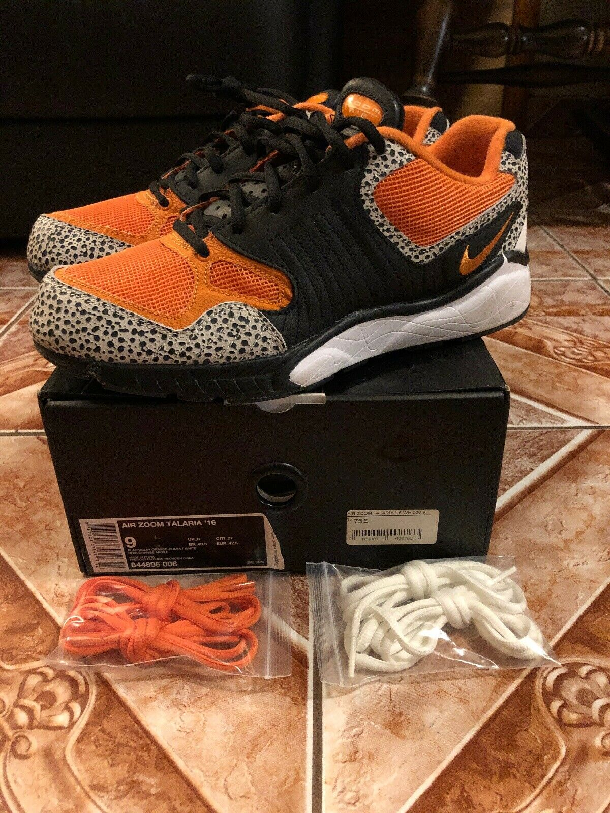 Nike Men Air Zoom Talaria 16, SAFARI-BLACK CLAY orange WHITE 844695-006 Size 9