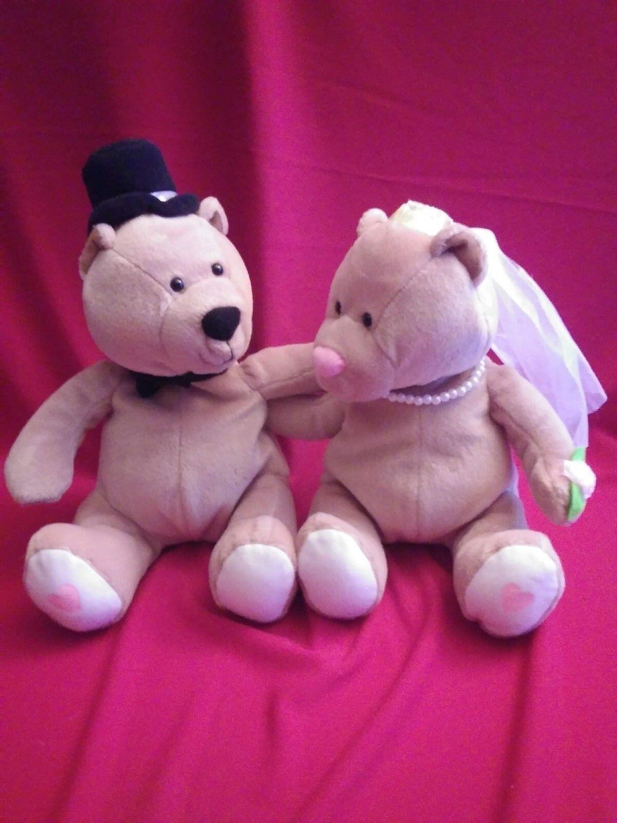 9  RARE Married Couple Teddy Bears Camscan Stuffed Animal Plush Toy