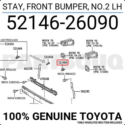 Genuine Toyota Parts 52146-42030 Driver Side Front Bumper Bracket