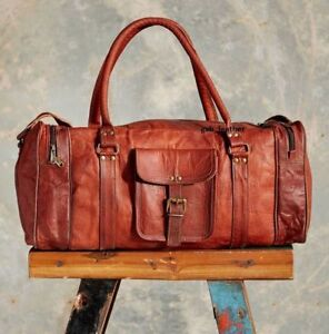 Vintage-Leather-Genuine-Duffel-overnight-luggage-travel-bag-Men-weekend-Brown