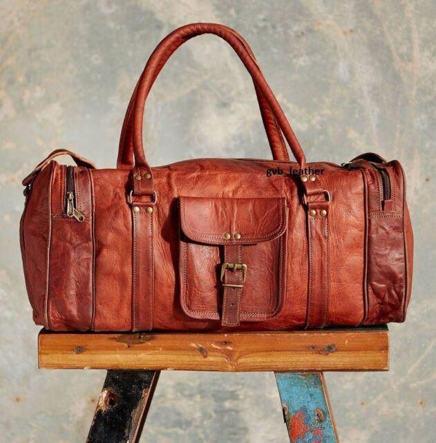 Vintage Leather Genuine Duffel overnight luggage travel bag Men weekend Brown