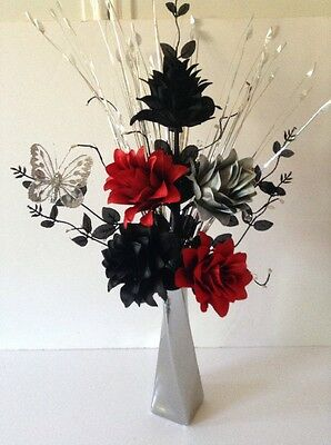 Artificial Silk Flower Arrangement Silver /& Black In Slim Black Vase
