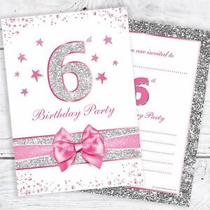 Image Is Loading 6th Birthday Party Invites Pink With Photo Effect