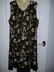 20 BLACK FLORAL NON IRON SLEEVELESS LACE EDGED HEM PLEATED TOP BACK TIE NWT $29