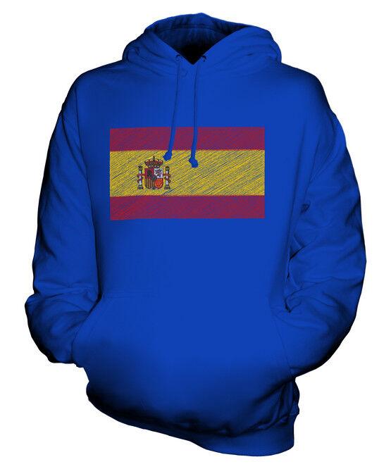 SPAIN SCRIBBLE FLAG UNISEX HOODIE TOP GIFT ESPAÑA ESPANYA