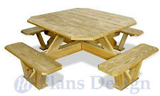 Traditional Square Picnic Table / Benches Woodworking Plans #ODF03