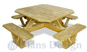 Delightful Image Is Loading Traditional Square Picnic Table  Benches Woodworking Plans ODF03