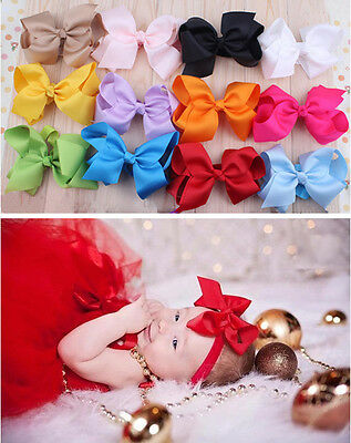 12pcs Kids Girl Baby Toddler Infant Bowknot Headband Hair Bow Band Accessories