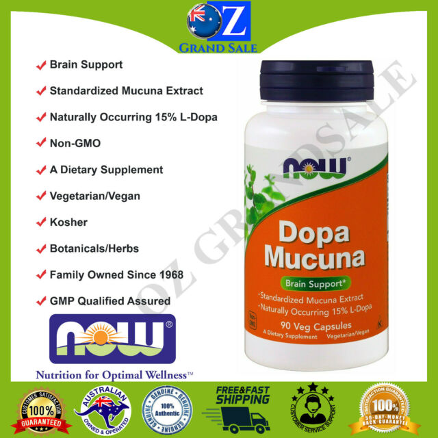 L Dopa Mucuna Dopamine Vegan Kosher Brain Support Now Foods 90 Veggie Capsules