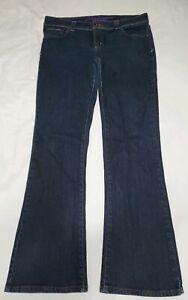 Anchor-Blue-Women-039-s-Lilac-Flap-Pocket-Bootcut-Dark-Blue-Denim-Jeans-Size-15
