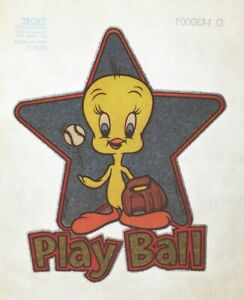 Vintage-Tweety-Bird-Play-Ball-Iron-On-Transfer-Baseball-T-Shirt-Glitter-NOS