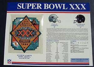 1996 NFL Super Bowl XXX (30) Patch DALLAS Cowboys vs Steelers Willabee & Ward
