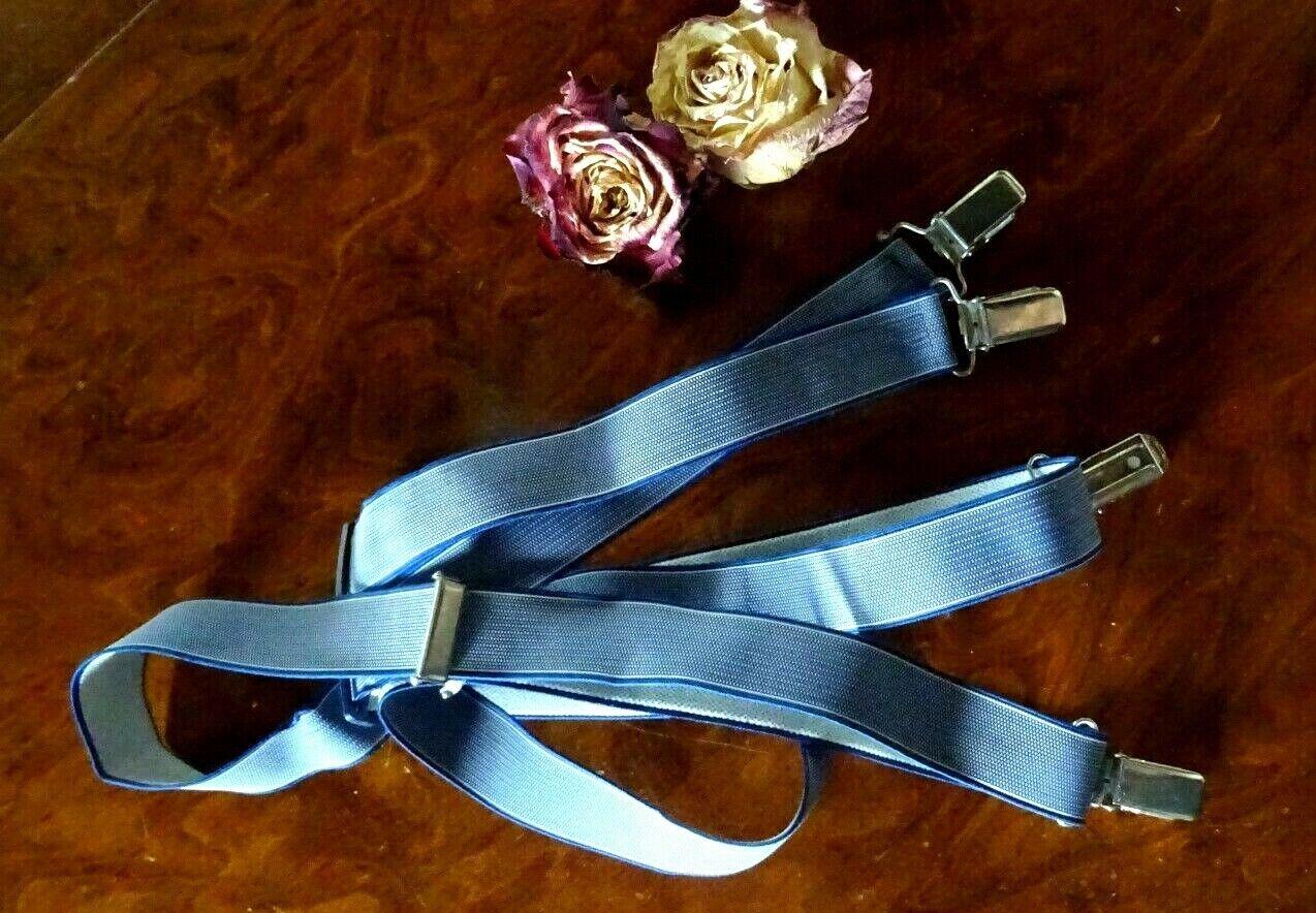 traditionelle Hosenträger blau-grau, 4 Clipse - perfekt für den älteren Herrn