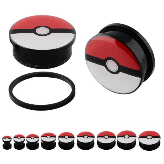 "PAIR (2pcs) Pokeball Pokeman Acrylic Screw Fit Ear Flesh Tunnel Plugs 2G -- 1"""