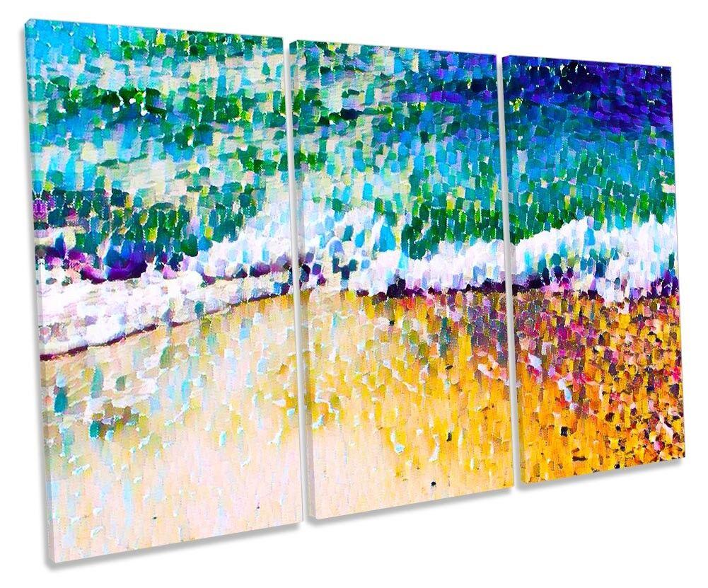 Plage Mosaic Surf Bathroom TREBLE toile WALL ARTWORK Print Art