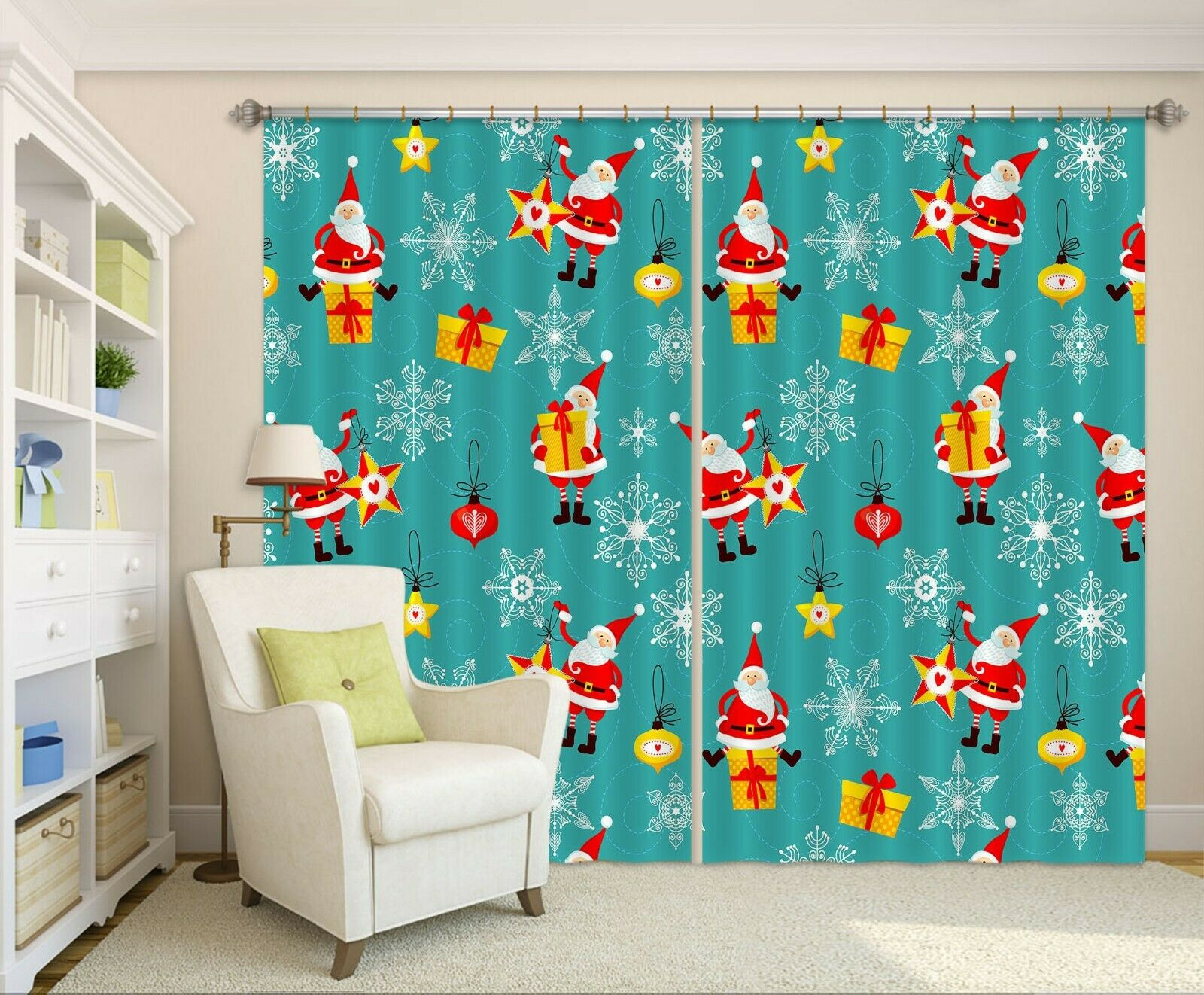 3D Gift Pattern O041 Christmas Photo Curtain Printing Fabric Window An