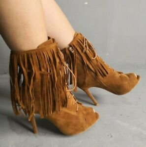 Women-039-s-Shoes-Stiletto-Heel-Ankle-Boots-Tassels-Fringes-Party-Suede-Fabric-Shoes
